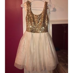 Gold and White short flare dress
